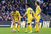 Chelsea defender Marcos Alonso (3), Chelsea midfielder Willian (22), Chelsea defender David Luiz (30) eye up a free kick during the Premier League match between Crystal Palace and Chelsea at Selhurst Park, London, England on 30 December 2018.