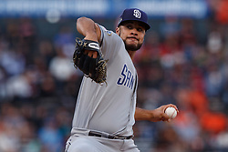 SAN FRANCISCO, CA - JUNE 12: Joey Lucchesi #37 of the San Diego Padres pitches against the San Francisco Giants during the first inning at Oracle Park on June 12, 2019 in San Francisco, California. The San Francisco Giants defeated the San Diego Padres 4-2. (Photo by Jason O. Watson/Getty Images) *** Local Caption *** Joey Lucchesi