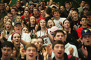 Rutland fans cheer for the team during the boys high school semi final basketball game between the Rutland Raiders and the Rice Green Knights at Patrick Gym on Saturday afternoon February 27, 2016 in Burlington. (BRIAN JENKINS/for the FREE PRESS)