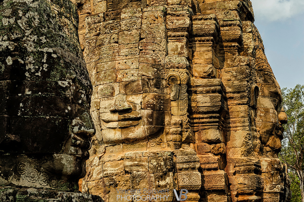 A close-up on bayon typical faces, Bayon Temple, Siem Reap, Cambodia