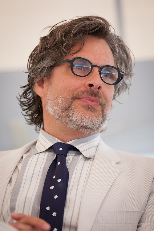 """MacDowell Colony Chairman and author Michael Chabon is pictured during a ceremony awarding Broadway composer and lyricist Stephen Sondheim the Edward MacDowell Medal for lifetime achievement, at the MacDowell Colony, in Peterborough, NH on Sunday, August 11, 2013. Sondheim has won more Tony Awards than any other composer. His hit musicals include """"Follies,"""" ''A Little Night Music"""" and """"Sweeney Todd.""""  (Matthew Cavanaugh Photo)"""
