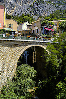 Moustiers-Sainte-Marie, or just Moustiers, lies at the western entrance to the Gorges du Verdon, southern France.