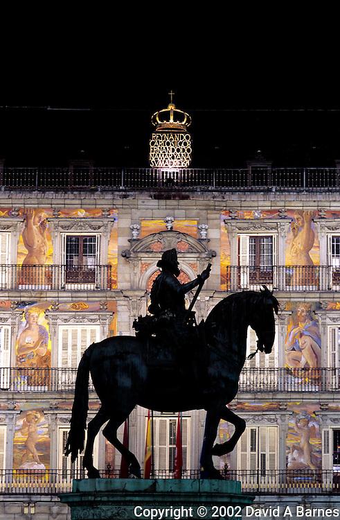 Equestrian statue of Philip III in front of Casa de la Panadera;.Plaza Mayor; Madrid; Spain.
