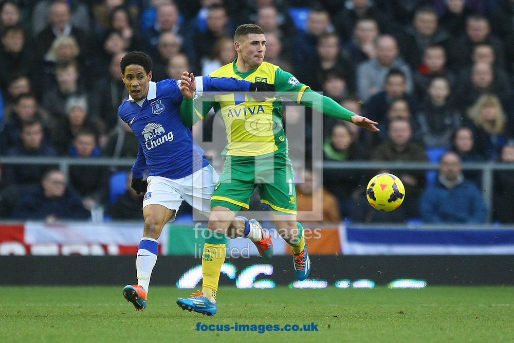 Picture by Paul Chesterton/Focus Images Ltd +44 7904 640267<br /> 11/01/2014<br /> Gary Hooper of Norwich and Steven Pienaar of Everton in action during the Barclays Premier League match at Goodison Park, Liverpool.