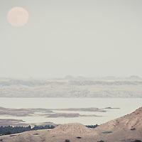 full moon over fort peck lake