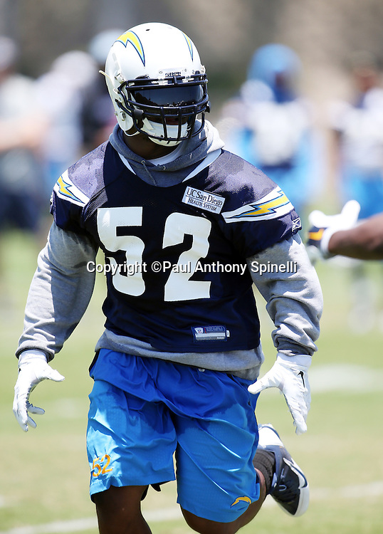 San Diego Chargers rookie linebacker Denzel Perryman (52) chases the action during the San Diego Chargers Spring 2015 NFL minicamp practice held on Tuesday, June 16, 2015 in San Diego. (©Paul Anthony Spinelli)