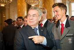 29.01.2014, Hofburg, Wien, AUT, Sochi 2014, Vereidigung OeOC, im Bild Bundespräsident Heinz Fischer, Gregor Schlierenzauer // Austrians President Heinz Fischer and Gregor Schlierenzauer during the swearing-in of the Austrian National Olympic Committee for Sochi 2014 at the  Hofburg in Vienna, Austria on 2014/01/29. EXPA Pictures © 2014, PhotoCredit: EXPA/ JFK