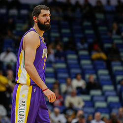Feb 5, 2018; New Orleans, LA, USA; New Orleans Pelicans forward Nikola Mirotic (3) against the Utah Jazz during the first quarter at the Smoothie King Center. Mandatory Credit: Derick E. Hingle-USA TODAY Sports