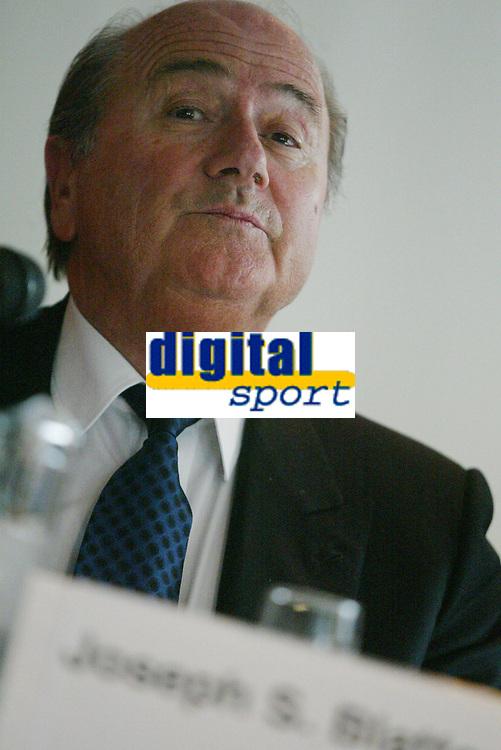 Fotball, 17. april 2002. Joseph S. Blatter, president i det internasjonale fotballforbundet (FIFA). Sepp Blatter.