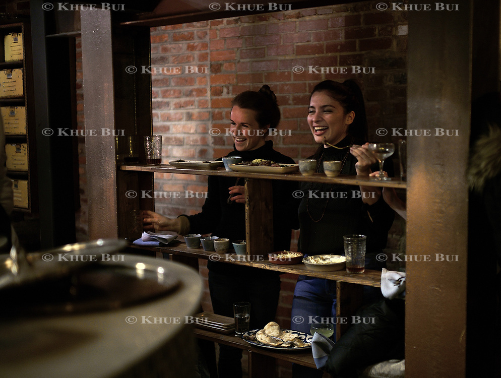 Guests enjoy dinner at Maydan Friday, January 26, 2018, in Washington, DC.<br /> <br /> Photo by Khue Bui