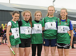 Castlebar Community Games girls U14 relay winners Ava Flynn, Katie Gibbons, Ruth Kelly Sarah Conlon and Niamh Kennedy winners at the Mayo Community Games.<br /> Pic Conor McKeown