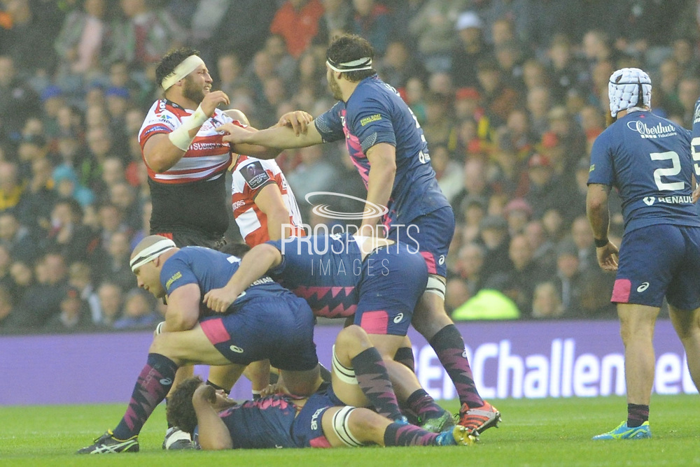 Tempers start to fray in the first half of the European Rugby Challenge Cup match between Gloucester Rugby and Stade Francais at BT Murrayfield, Edinburgh, Scotland on 12 May 2017. Photo by Kevin Murray.