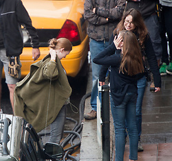 "Day two filming. Brad Pitt's co-star Mireille Enos on the set of the movie ""World War Z"" being shot in the city centre of Glasgow. The film, which is set in Philadelphia, is being shot in various parts of Glasgow, transforming it to shoot the post apocalyptic zombie film.."