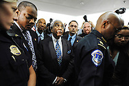 U.S. Representative Charles Rangel (D-NY) (C) is surrounded by reporters and Capitol Police as he departs following the conclusion of his ethics hearing before the House Adjudicatory subcommittee at Capitol Hill in Washington November 18, 2010. REUTERS/Jonathan Ernst  (UNITED STATES - Tags: CRIME LAW POLITICS IMAGES OF THE DAY) - RTXUSSN