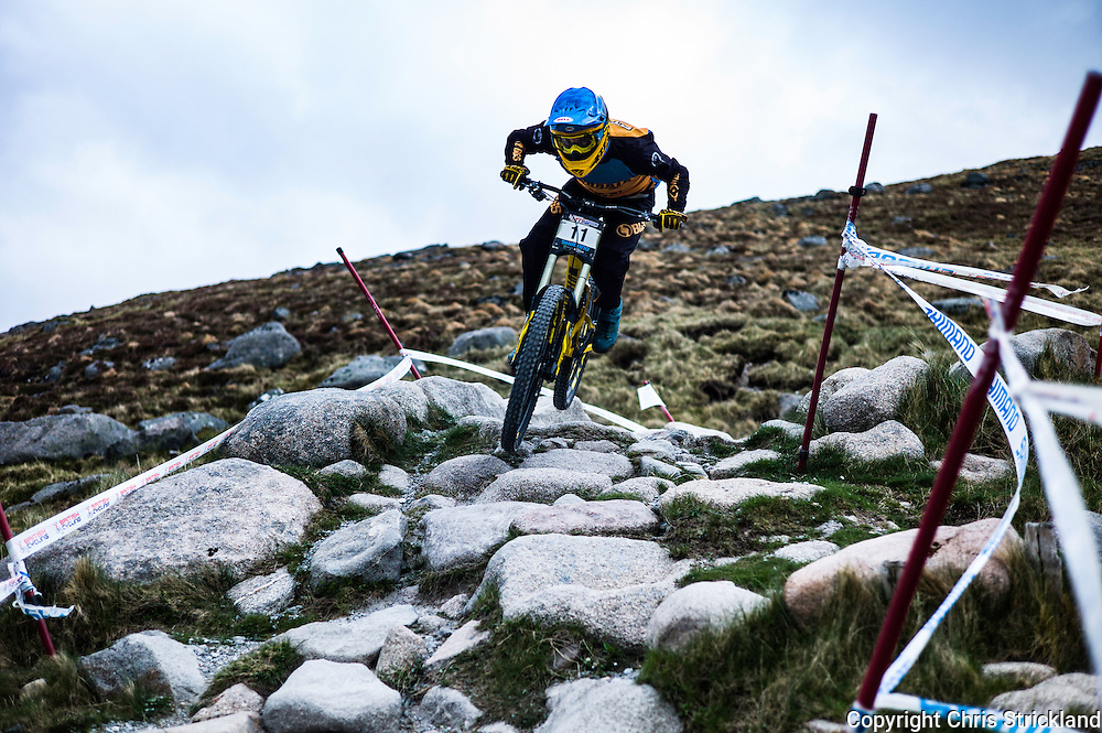 Nevis Range, Fort William, Scottish Highlands, UK. 15th May 2016. Phillip Atwill competes in the British Downhill Series on Nevis Range in the Scottish Highlands.