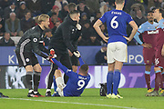 Jamie Vardy (9) is helped off after injuring himself during the Premier League match between Leicester City and West Ham United at the King Power Stadium, Leicester, England on 22 January 2020.