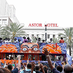 February 21, 2012; New Orleans, LA, USA; Revelers hold up their hands and scream from throws as a float from the Krewe of Zulu parade rolled along Canal Street in New Orleans. Floats tossed out beads, painted coconuts and various trinkets to revelers on Mardi Gras day. Mardi Gras is an annual celebration that ends at midnight with the start of the Catholic Lenten season which begins with Ash Wednesday and ends with Easter. Photo by: Derick E. Hingle