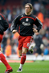 Liverpool, England - Sunday, October 7, 2007: Liverpool's Fernando Torres warms-up before the Premiership match against Tottenham Hotspur at Anfield. (Photo by David Rawcliffe/Propaganda)