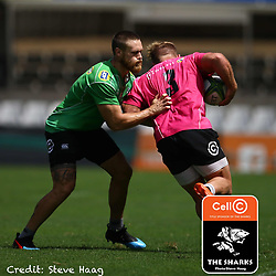 Cameron Wright of the Cell C Sharks tackling Akker van der Merwe of the Cell C Sharks during The Cell C Sharks training session at Jonsson Kings Park Stadium in Durban, South Africa. 6th February 2019 (Photo by Steve Haag)