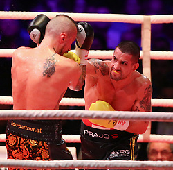 13.04.2019, Erste Bank Arena, Wien, AUT, Bounce Fight Night, Mittelgewicht, Marcos Nader (AUT) vs Gogi Knezevic (AUT), im Bild v.l. Gogi Knezevic und Marcos Nader // during Middleweight, with the fight betweeb Marcos Nader of Austria vs Gogi Knezevic of Austria of the Bounce Fight Night at the Erste Bank Arena in Wien, Austria on 2019/04/13. EXPA Pictures © 2019, PhotoCredit: EXPA/ Thomas Haumer