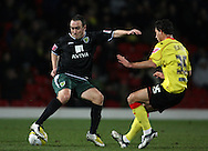 London - Wednesday, December 12th, 2008: Ross Jenkins of Watford and Lee Croft of Norwich City during the Coca Cola Championship match at Vicarage Road, London. (Pic by Chris Ratcliffe/Focus Images)