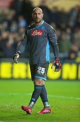 SWANSEA, WALES - Thursday, February 20, 2014: SSC Napoli's goalkeeper Pepe Reina comes on as a second half substitute against Swansea City during the UEFA Europa League Round of 32 1st Leg match at the Liberty Stadium. (Pic by David Rawcliffe/Propaganda)