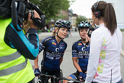 Emilie Moberg (NOR) and Susanne Andersen (NOR) of Hitec Products Cycling Team talk to the national TV chanel after Stage 1 of the Ladies Tour of Norway - a 101.5 km road race, between Halden and Mysen on August 18, 2017, in Ostfold, Norway. (Photo by Balint Hamvas/Velofocus.com)