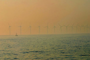 "DENMARK, OSTSEE (BALTIC SEA)..Wind power plant near Copenhagen, seen from ""Lili Marleen"" (luxurious sailing ship of Deilmann Cruises)..(Photo by Heimo Aga)"