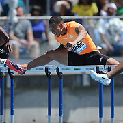 Aleec Harris, USA, in action in the Men's 110m Hurdles during the Diamond League Adidas Grand Prix at Icahn Stadium, Randall's Island, Manhattan, New York, USA. 13th June 2015. Photo Tim Clayton