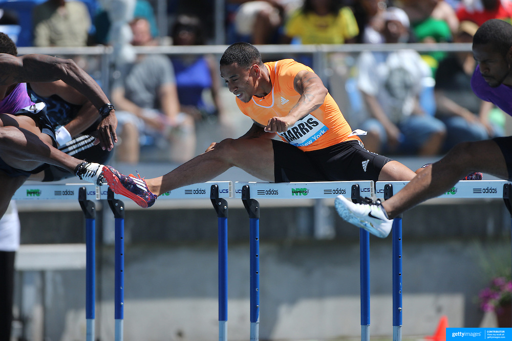 Aleec Harris, USA, in action in the Men's 110m Hurdles during the Diamond League Adidas Grand Prix at Icahn Stadium, Randall's Island, Manhattan, New York, USA. 13th June 2015. Photo Tim Clayton
