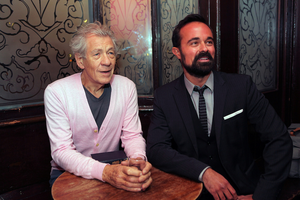 Sir Ian McKellen and Evgeny Lebedev, at The Grapes, the pub they bought in Narrow Street, Limehouse, London