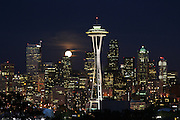 Space Needle and Full Moon- Seattle Skyline - Washington State