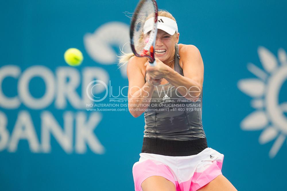 Caroline Wozniacki (DEN). Queensland Tennis Center, Tennyson, Brisbane, Queensland, Australia. 31/12/2012. Photo By Lucas Wroe