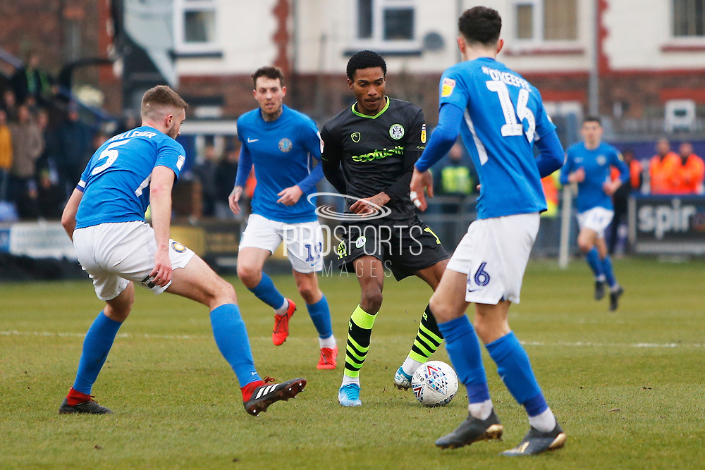 Jevani Brown on the ball during the EFL Sky Bet League 2 match between Macclesfield Town and Forest Green Rovers at Moss Rose, Macclesfield, United Kingdom on 25 January 2020.