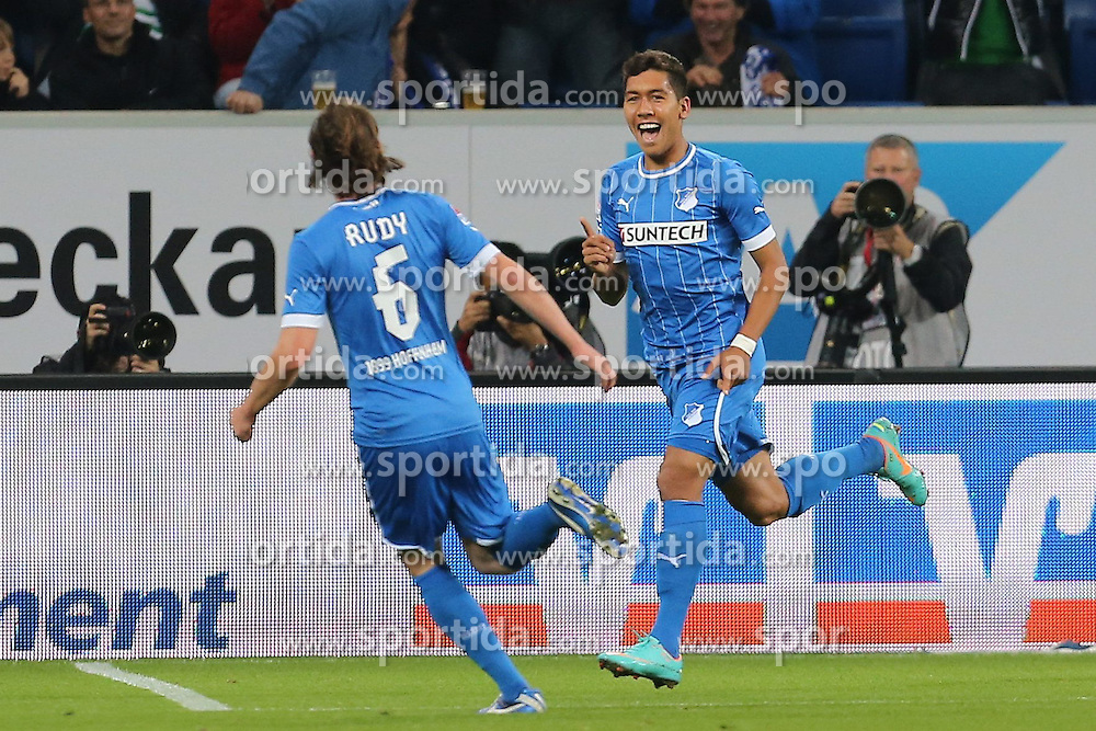 19.10.2012, Rhein Neckar Arena, Sinsheim, GER, 1. FBL, TSG 1899 Hoffenheim vs SpVgg Greuther Fuerth, 08. Runde, im Bild Hoffenheim geht durch Roberto FIRMINO (TSG 1899 Hoffenheim) mit 1:0 in Fuehrung welcher seinen Treffer bejubelt/ Torjubel // during the German Bundesliga 08th round match between TSG 1899 Hoffenheim and SpVgg Greuther Fuerth at the Rhein Neckar Arena, Sinsheim, Germany on 2012/10/19. EXPA Pictures © 2012, PhotoCredit: EXPA/ Eibner/ Ehrmann *****ATTENTION - OUT OF GER *****