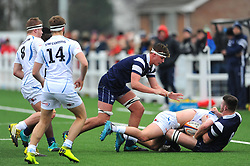 James Timoney of Bristol Bears Academy U18 tackles Jake Bond of Exeter Chiefs U18 -Mandatory by-line: Nizaam Jones/JMP- 05/01/2019 - RUGBY - North Bristol RFC - Bristol, England - Bristol Academy U18 v Exeter Chiefs U18-U18 Academy League
