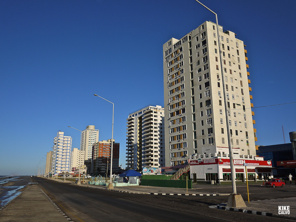 Seafront buildings at El Malecon in Vedado neighborhood