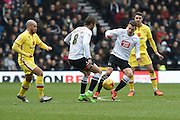 Derby County's Jeff Hendrick left and Derby County's Jason Shakell right on the ball during the Sky Bet Championship match between Derby County and Milton Keynes Dons at the iPro Stadium, Derby, England on 13 February 2016. Photo by Jon Hobley.