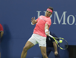 September 6, 2017 - New York, New York, United States - Rafael Nadal of Spain returns ball during match against Andrey Rublev of Russia at US Open Championships at Billie Jean King National Tennis Center  (Credit Image: © Lev Radin/Pacific Press via ZUMA Wire)