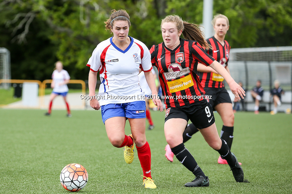 Auckland's Evie Millynn and Canterbury's Lily Bray compete for the ball. National Women's League, Round 1, Auckland Football Federation v Canterbury United Pride, William Green Domain, Auckland, Sunday 16th October 2016. Copyright Photo: David Joseph / www.photosport.nz