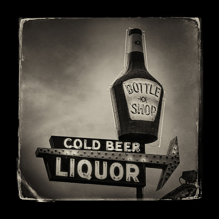 "Charles Blackburn Instagram image of a Bottle sign in Texarkana, AR. 5x5"" print."