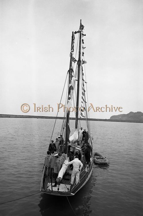The Asgard, which took part in the 1916 gun running to Howth, is commissioned by the Minister for Finance, Charlie Haughey..25.03.1969