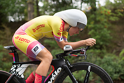 Hayley Simmonds (GBR) of Team WNT tackles the first climb of Stage 4 of the Lotto Thuringen Ladies Tour - a 18.7 km individual time trial, starting and finishing in Schmolln on July 16, 2017, in Thuringen, Germany. (Photo by Balint Hamvas/Velofocus.com)