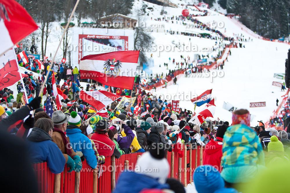 27.01.2013, Ganslernhang, Kitzbuehel, AUT, FIS Weltcup Ski Alpin, Slalom, Herren, Slalom im Bild Fanstimmung // during mens Slalom of the FIS Ski Alpine World Cup at the Ganslernhang course, Kitzbuehel, Austria on 2013/01/27. EXPA Pictures © 2013, PhotoCredit: EXPA/ Markus Casna
