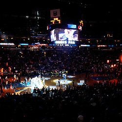 January 22, 2011; New Orleans, LA, USA; A general view during introductions prior to tip off of a game between the New Orleans Hornets and the San Antonio Spurs at the New Orleans Arena.   Mandatory Credit: Derick E. Hingle