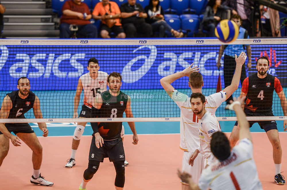 June 17, 2018 - Varna, Bulgaria - Jonas Aquenier play a service against Canada, during Mens Volleyball Nations League, VNL, match between France and Canada at Palace of Culture and Sport in Varna, Bulgaria on June 17, 2018  (Credit Image: © Hristo Rusev/NurPhoto via ZUMA Press)