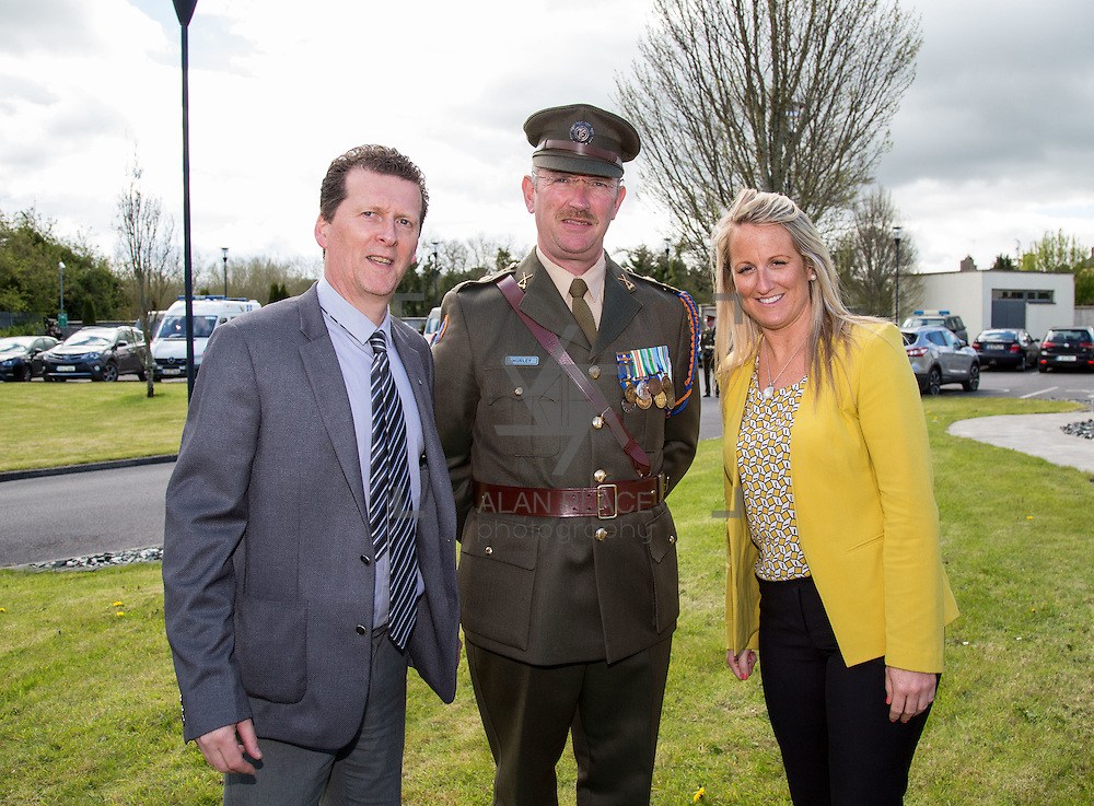 25.04.2016. <br /> Limerick marked the 100th anniversary of the Easter Rising on  Sunday and Monday with a wreath laying ceremony at the main 1916 Commemoration Monument on Sarsfield Bridge in Limerick City, and the official opening of four 1916 Memorial Gardens in Limerick City, Rathkeale, Kilmallock and Newcastle West. <br /> <br /> Pictured at the Memorial Gardens at the Local Area Offices Rathkeale were, Tony Storan, Library Services, Sgt. Major Stan Hurley and Niamh O'Rourke. Picture: Alan Place