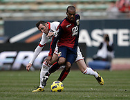 Bari (BA), 13-02-2011 ITALY - Italian Soccer Championship Day 25 - Bari VS Genoa..Pictured: Parisi (BA) Kanko (GE).Photo by Giovanni Marino/OTNPhotos . Obligatory Credit