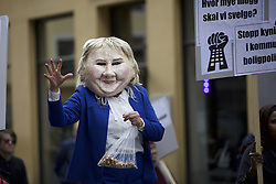 May 1, 2019 - Oslo, Norway - International Workers' Day in Oslo saw thousands of people participating in the day marching through the streets of Oslo. Here a person on stilts marching against the current housing policy. Olso, Norway, 1 May 2019  (Credit Image: © Noe Falk Nielsen/NurPhoto via ZUMA Press)