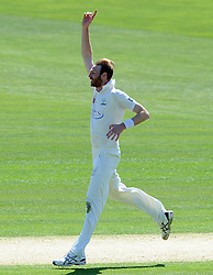 Glamorgan's Andy Carter celebrates the wicket of Surrey's Jason Roy. - Photo mandatory by-line: Harry Trump/JMP - Mobile: 07966 386802 - 20/04/15 - SPORT - CRICKET - LVCC County Championship - Division 2 - Day 2 - Glamorgan v Surrey - Swalec Stadium, Cardiff, Wales.